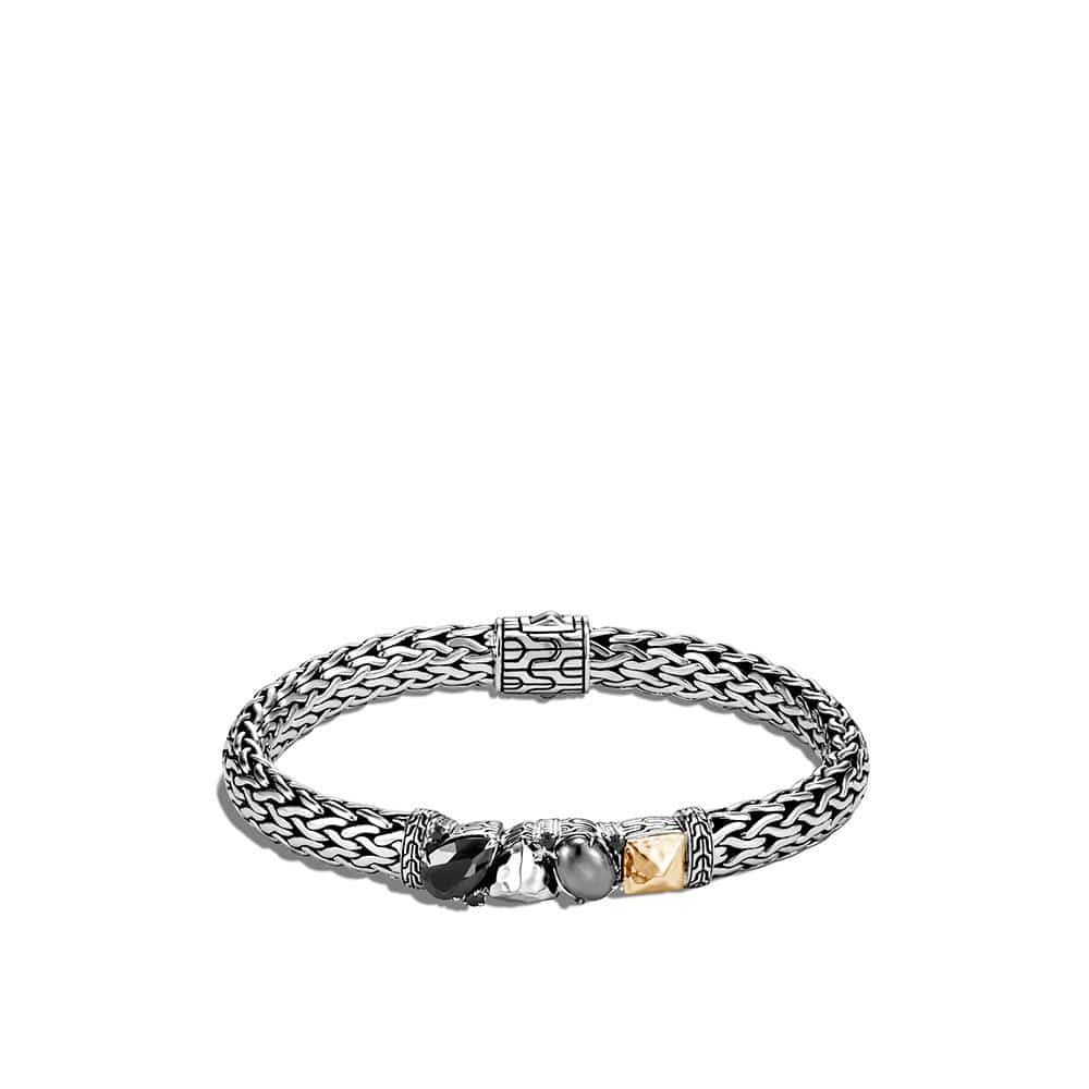 Classic Chain 7.5MM Station Bracelet in Silver and 18K Gold By John Hardy