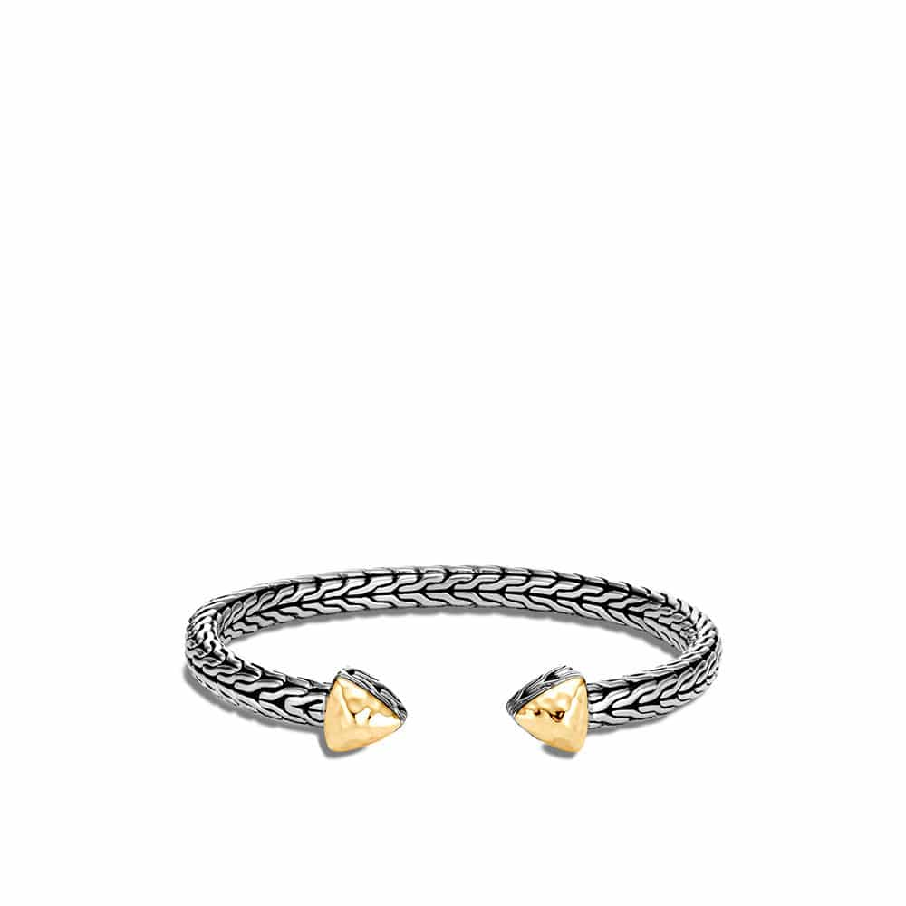Classic Chain FLex Cuff in Hammered 18K Gold and Silver By John Hardy