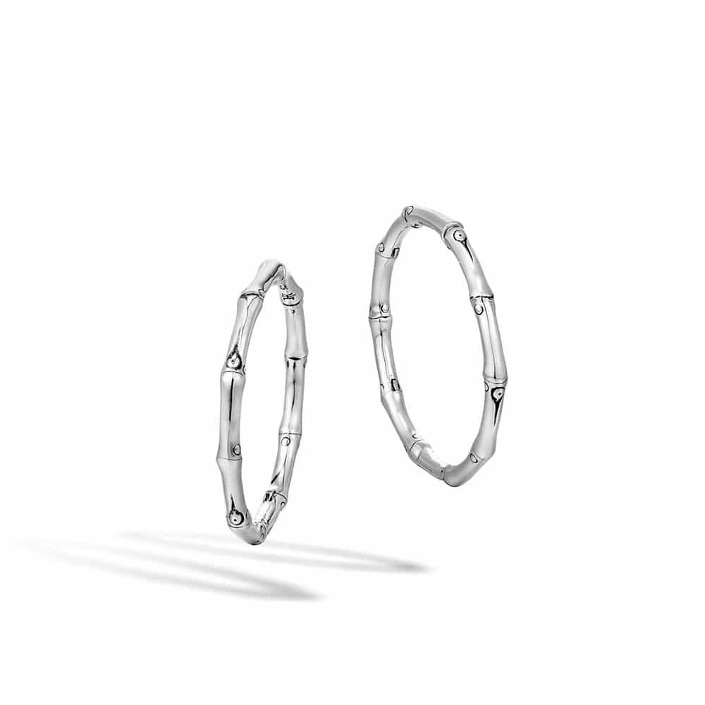 Bamboo Medium Hoop Earring in Silver By John Hardy