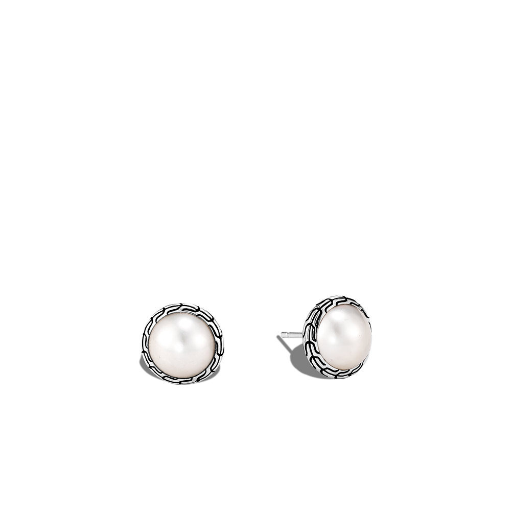 Classic Chain Stud Earring in Silver with 10MM Pearl By John Hardy