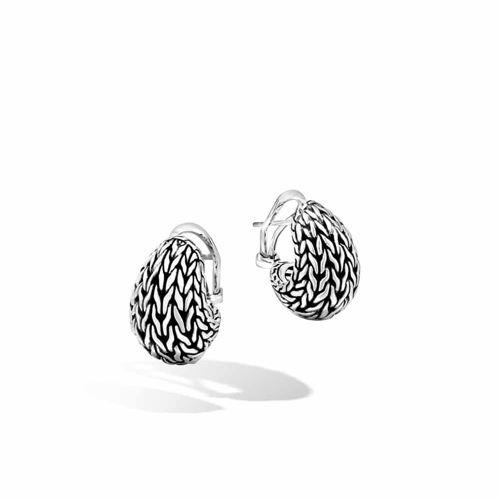 Classic Chain Graduated Buddha Belly Earring in Silver By John Hardy