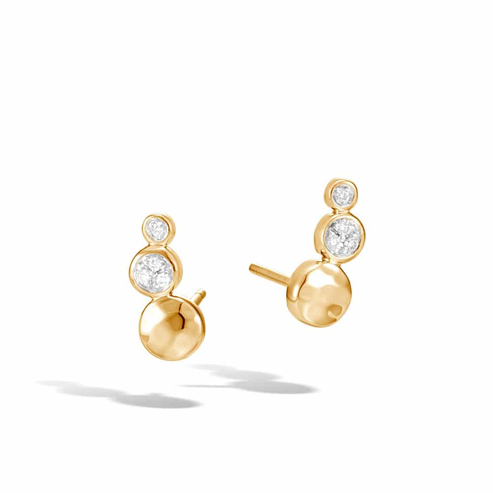 Dot 12.5×5.5MM Stud Earring in Hammered 18K Gold with Diamonds By John Hardy