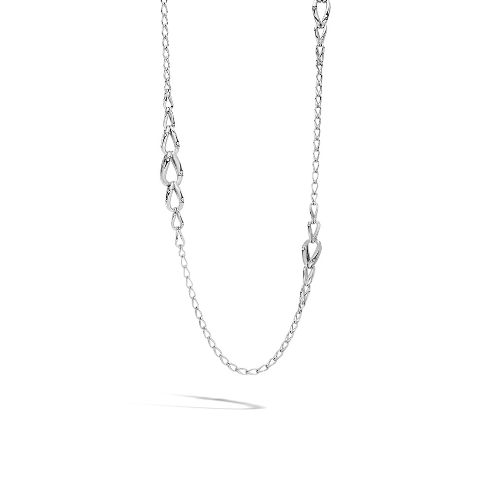 Bamboo 14MM Graduated Link Necklace in Silver By John Hardy