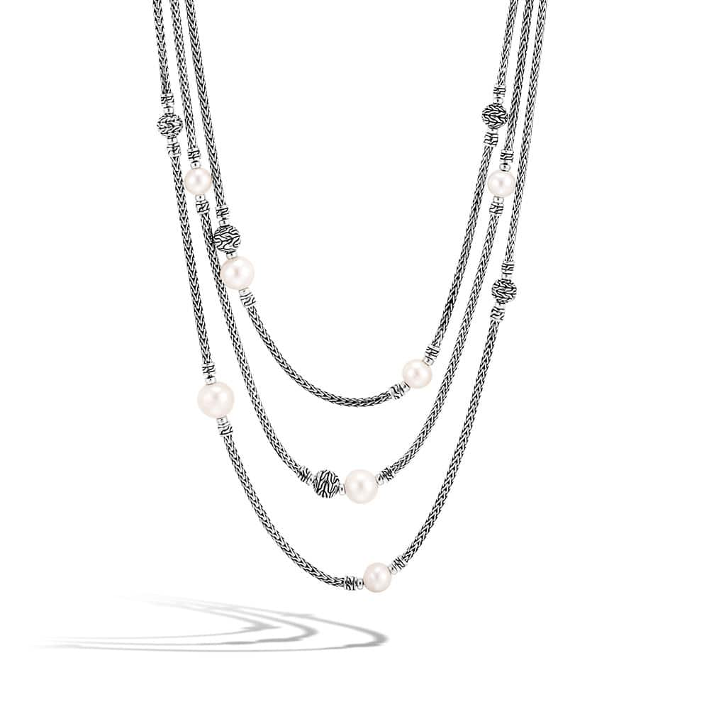 Classic Chain Multi Row Necklace in Silver with Pearl By John Hardy