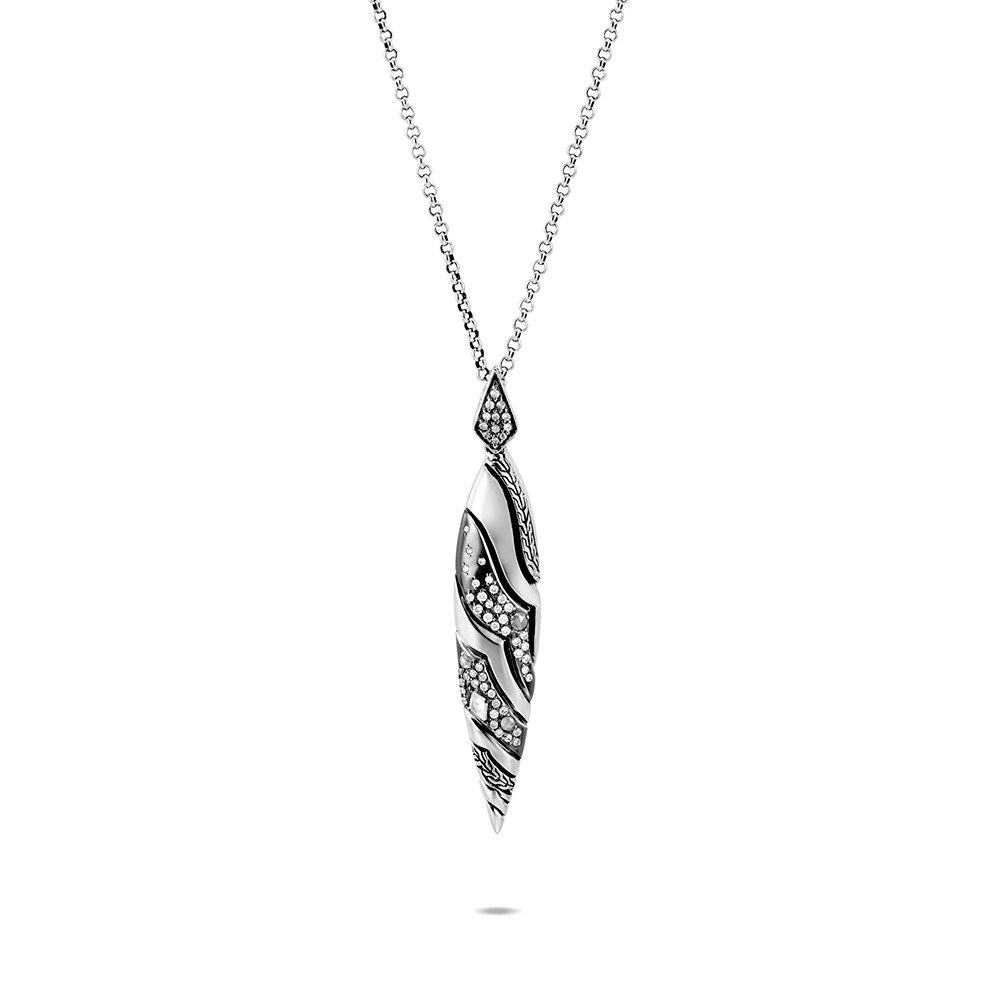 Lahar Marquise Pendant Necklace in Silver with Diamonds By John Hardy