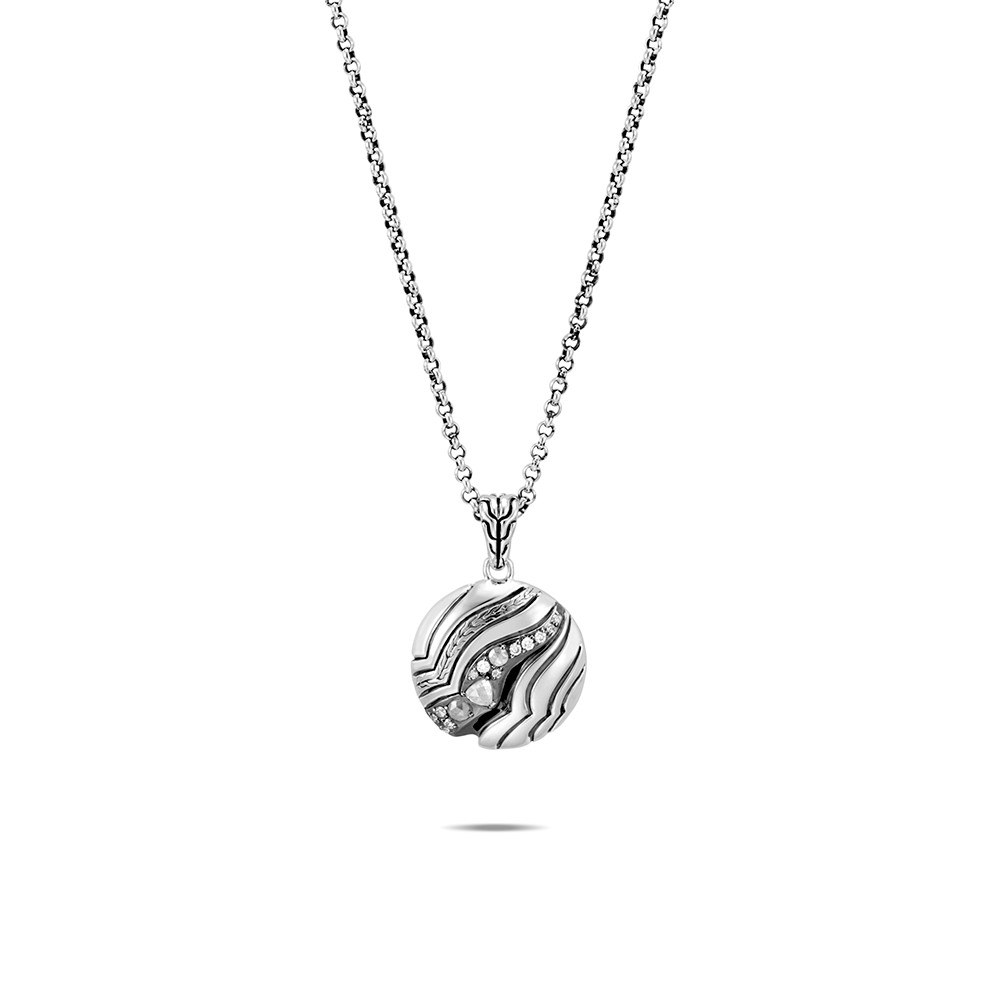 Lahar Pendant Necklace in Silver with Diamonds By John Hardy