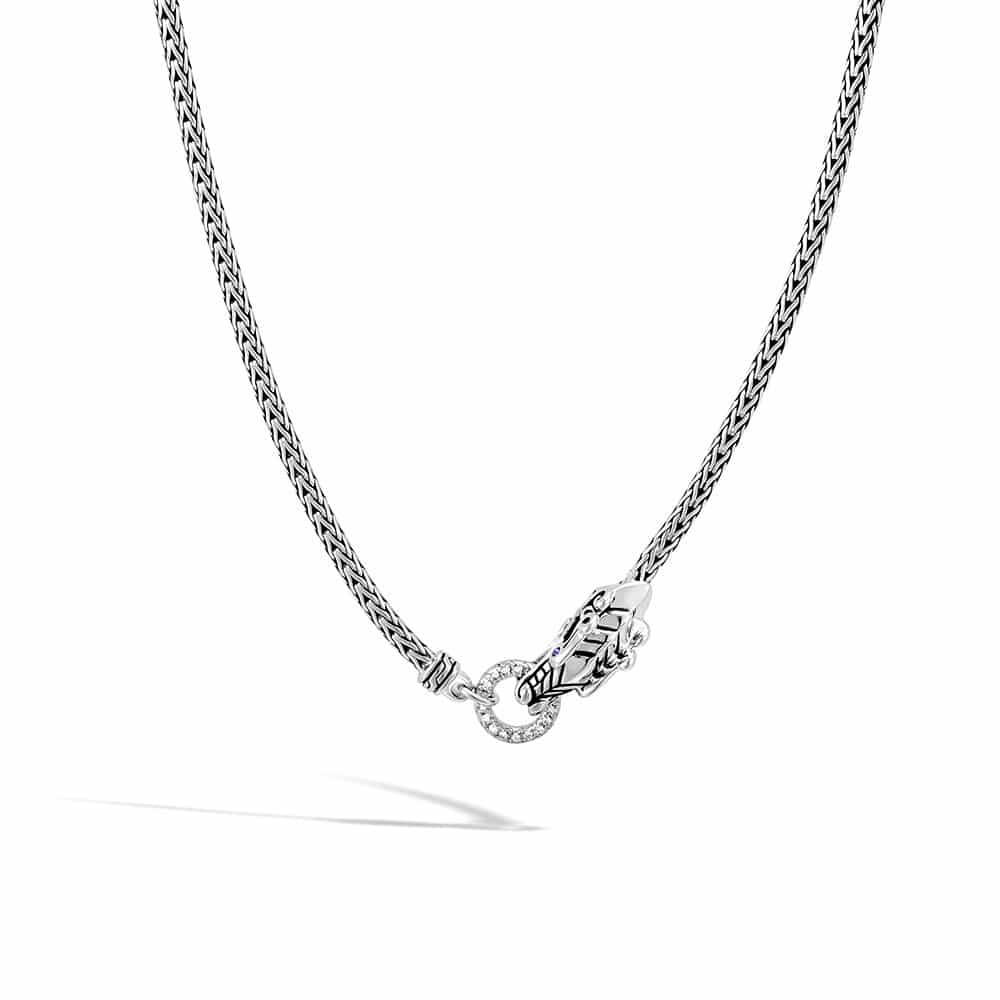 Legends Naga 2.5MM Necklace in Silver with Diamonds By John Hardy