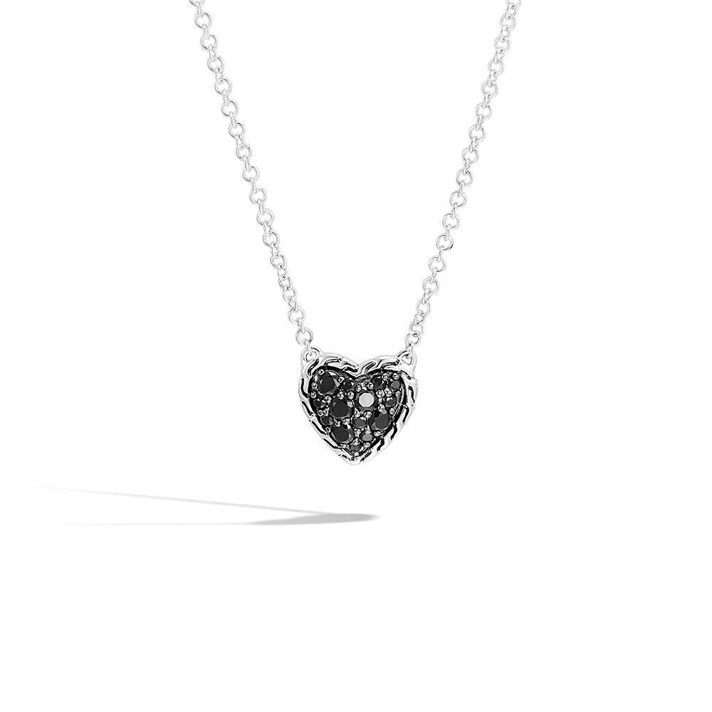 Classic Chain Heart Necklace in Silver with Gemstone By John Hardy