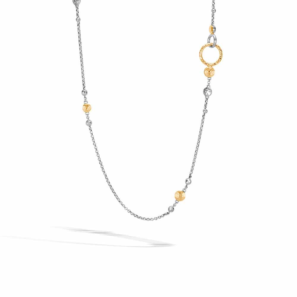 Dot Long Necklace in Silver and Hammered 18K Gold By John Hardy