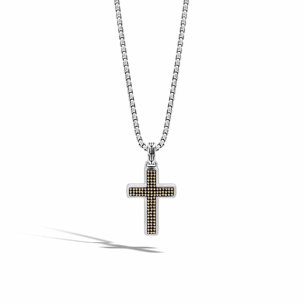 Chain Jawan Cross Necklace in Silver and 18K Gold By John Hardy