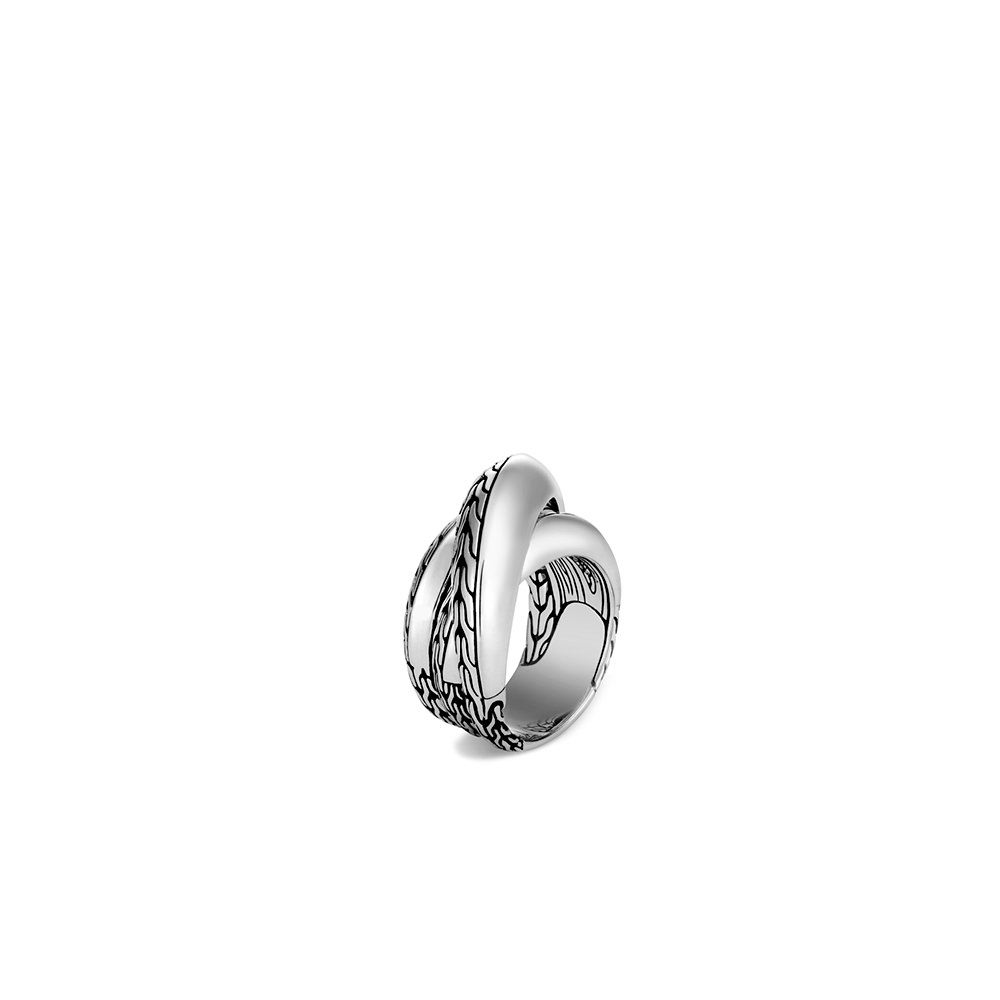 Classic Chain Knife Edge Overlap Ring in Silver By John Hardy