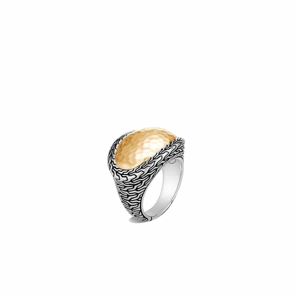 Classic Chain Ring in Silver and Hammered 18K Gold By John Hardy