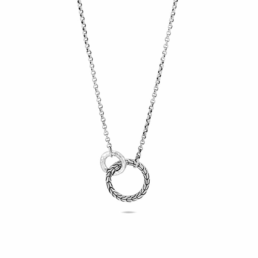 Classic Chain Interlinking Necklace in Hammered Silver by John Hardy