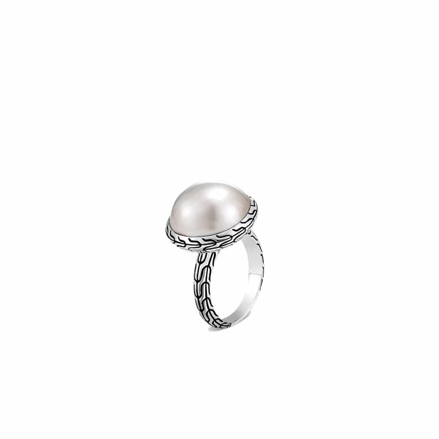 Classic Chain Ring in Silver with 17MM Pearl by John Hardy