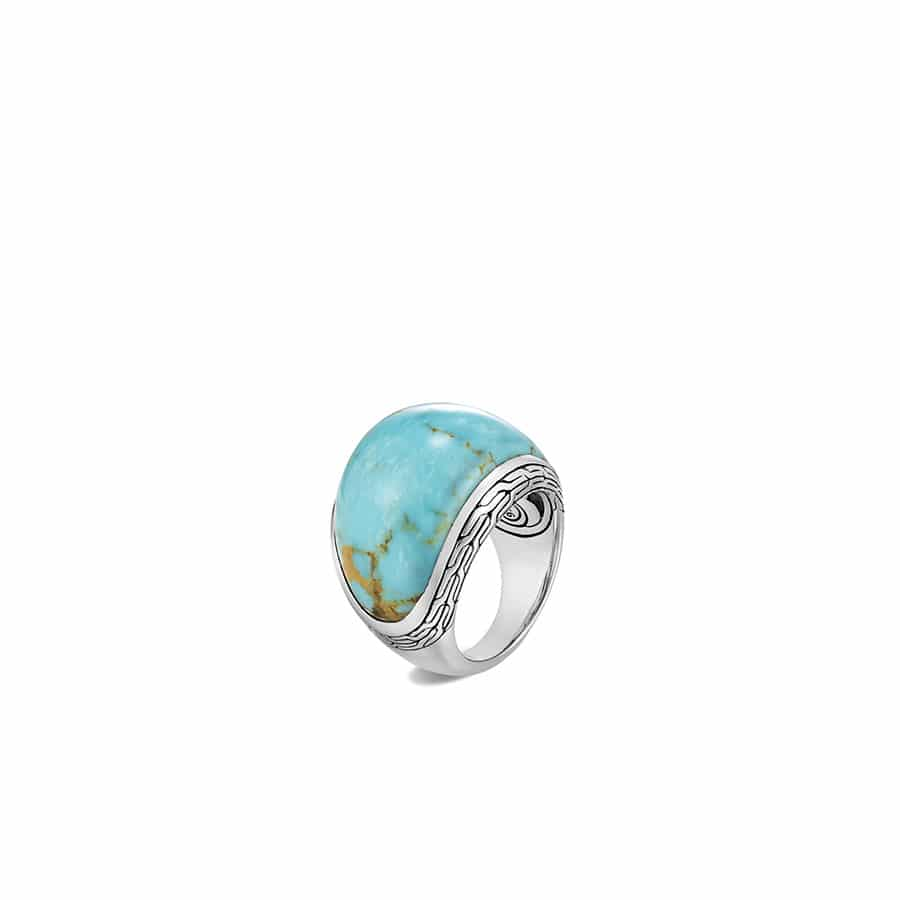 Classic Chain 22MM Dome Ring in Silver with Gemstone by John Hardy