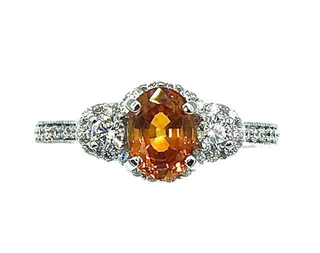 Golden Yellow Sapphire and Diamond 14K White Gold Birthstone Ring