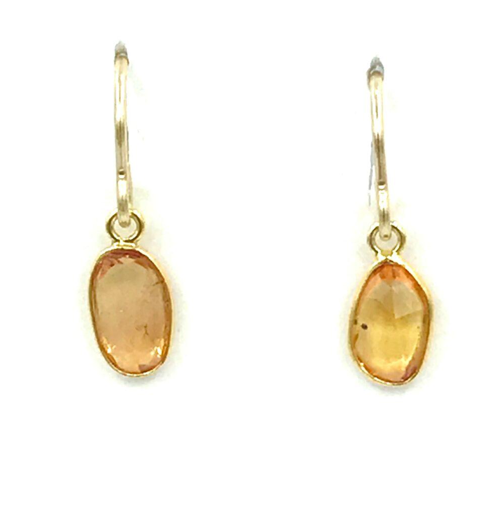 Citrine Oval Gemstone Earrings in 14K Yellow Gold