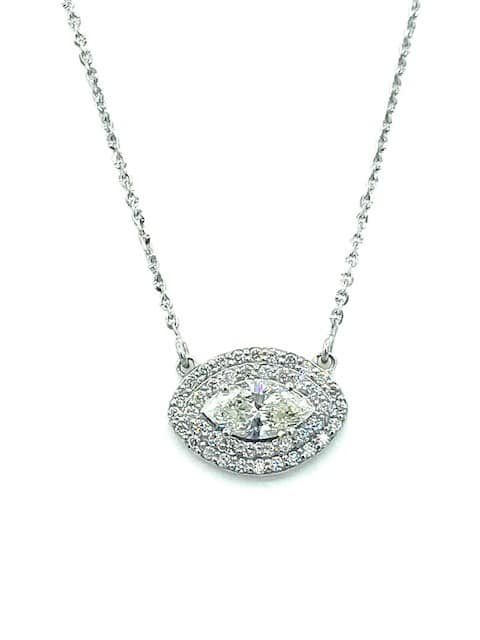 Diamond Marquise Halo Pendant Necklace in 14k white gold