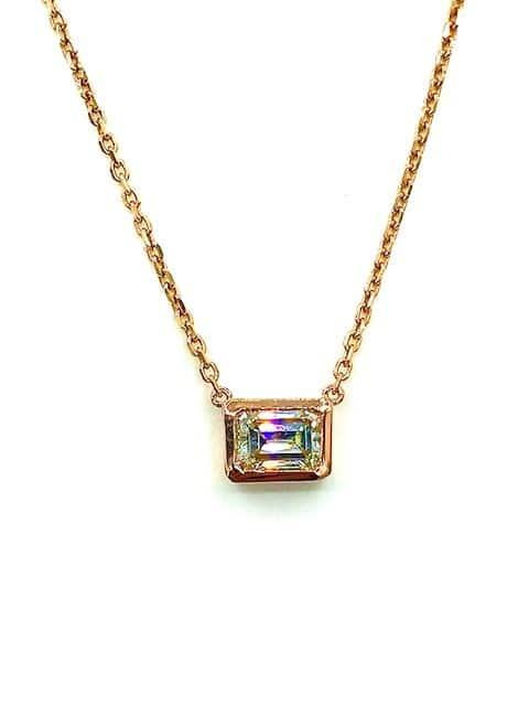 Emerald Cut Solitaire Diamond Pendant Necklace Bezel set in 14K Rose Gold