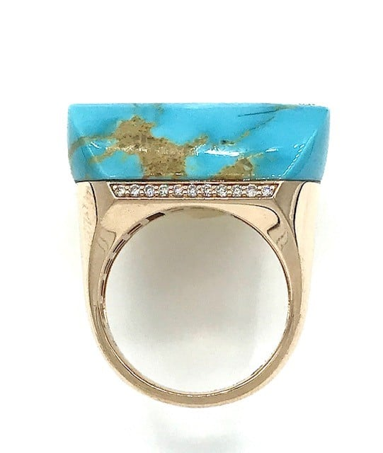 Roberto Coin Turquoise and Diamond 14K Rose Gold ring