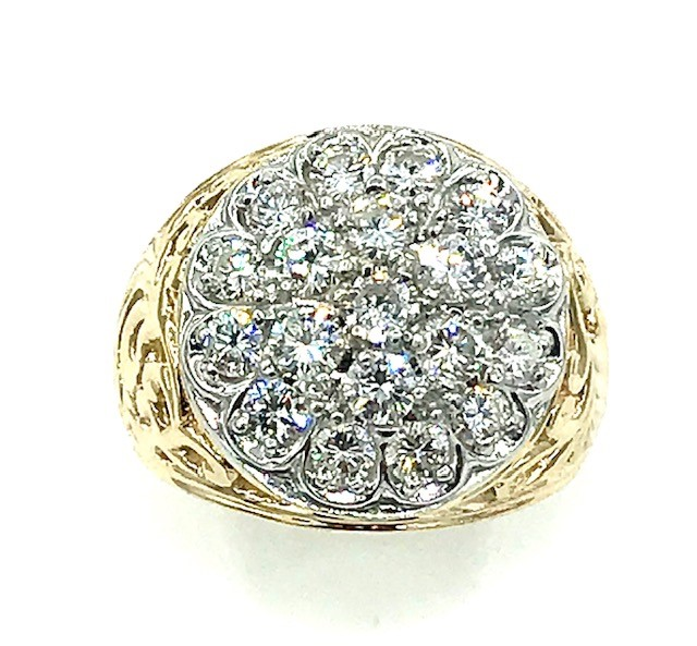 Gents Diamond 14K Yellow and White Gold Cluster Ring 2CTW