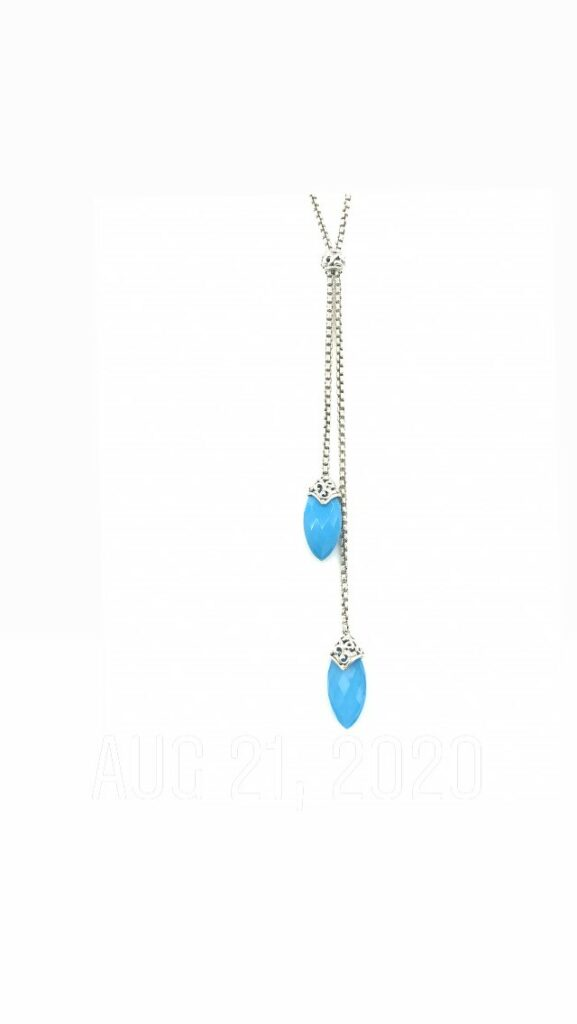 Charles Krypell Charles Krypell Skye Collection Sterling Silver Turquoise and White Quartz Lariat Necklace