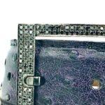 BLACK DIAMONDS IN STERLING SILVER 40MM BELT BUCKLE