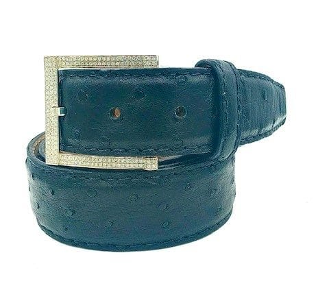 Diamond Sterling Silver Buckle On An Ostrich 35mm L. E. N. Lifestyle Belt