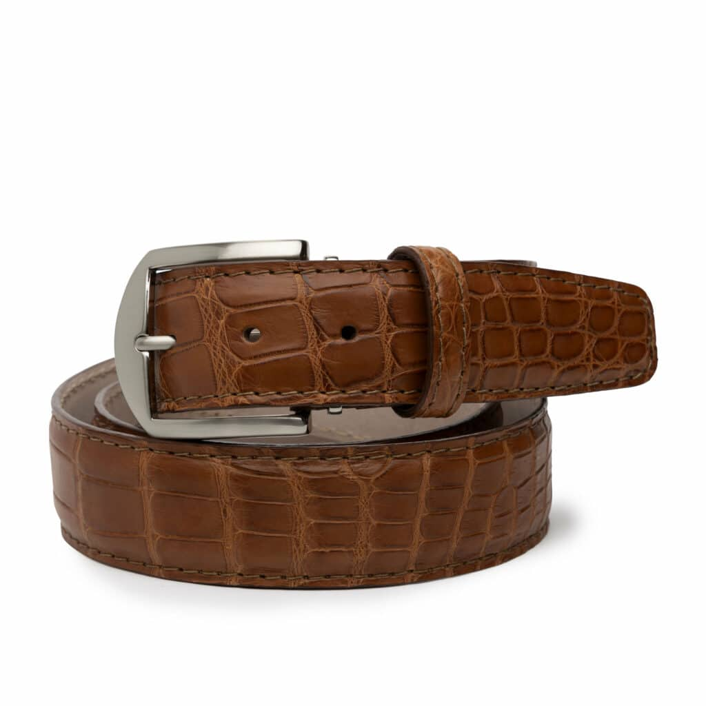 L E N LIFESTYLE BELT AMERICAN ALLIGATOR COGNAC 40MM