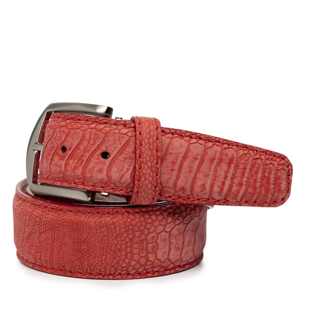 L E N LIFESTYLE 40MM BELT STONE WASHED RED OSTRICH LEG