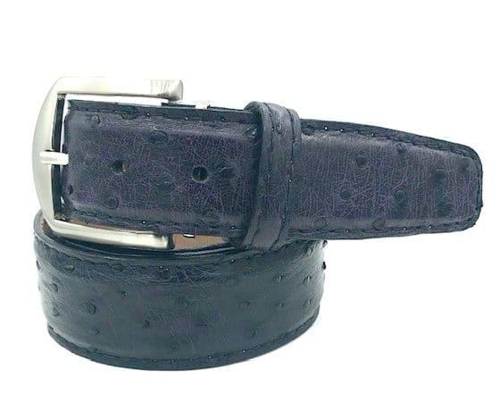 L.E.N. Lifestyle Genuine Ostrich 40mm Belt in Purple Haze