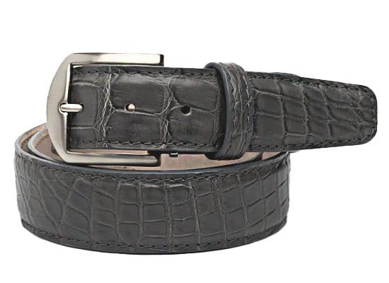 L.E.N. Lifestyle Genuine American Alligator 40mm Belt in Grey