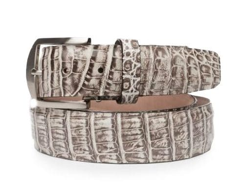Caiman Crocodile 40mm L. E. N. Lifestyle Belt in Chalk
