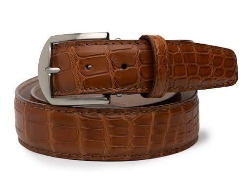 L.E.N. Lifestyle Genuine American Alligator 40mm Belt in Cognac