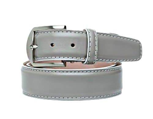 Italian Calf 40mm L. E. N. Lifestyle Belt In Grey With White Stitching