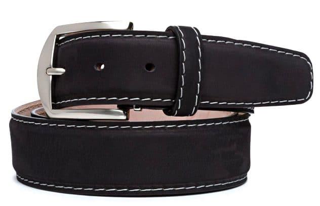 Italian Nubuc Leather 40mm L.E. N. Lifestyle Belt In Black