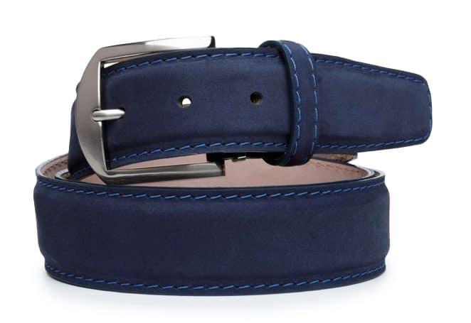 L.E.N. Lifestyle Italian Nubuc 40mm Belt in Navy Blue