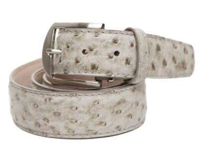 L.E.N. Lifestyle Genuine Ostrich 40mm Belt in Antique Grey