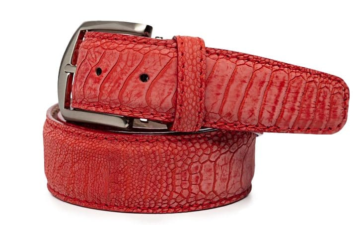 L.E.N. Lifestyle Genuine Stone Washed Ostrich Leg 40mm Belt in Red