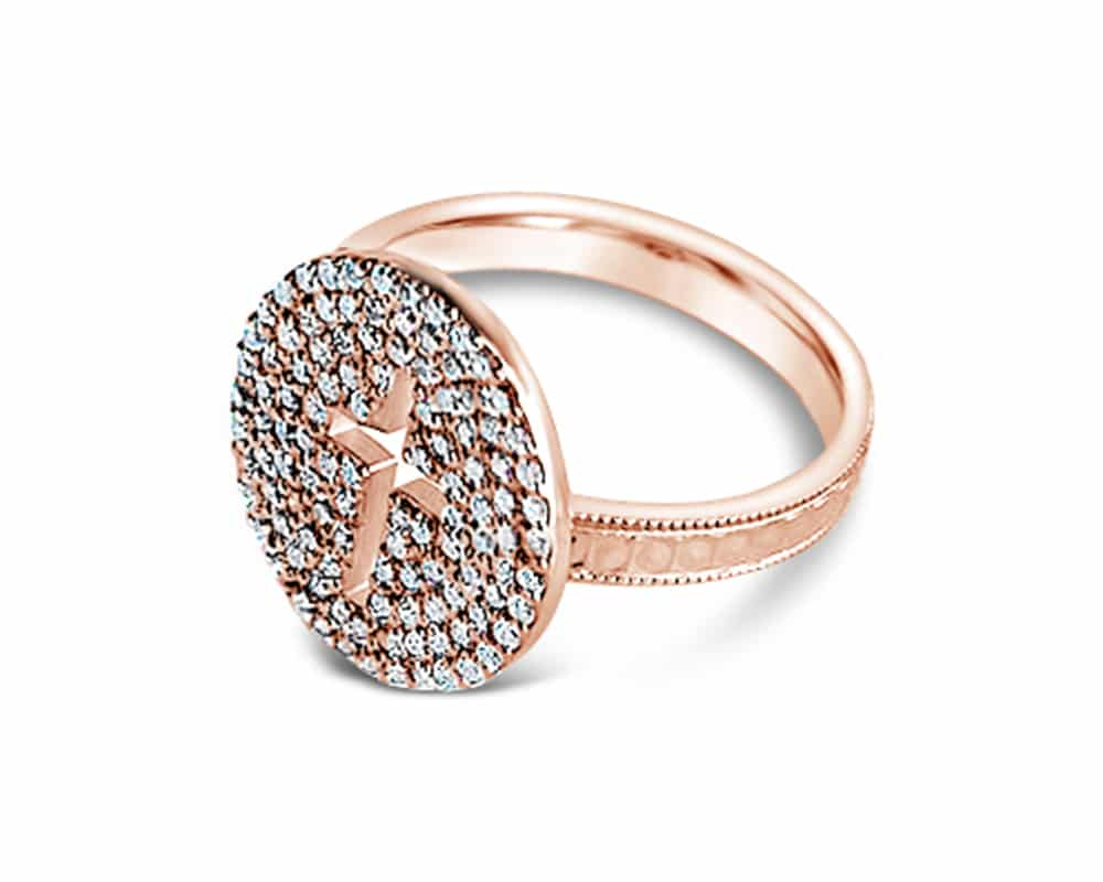 Rose Gold Pavé Diamond Cross Ring