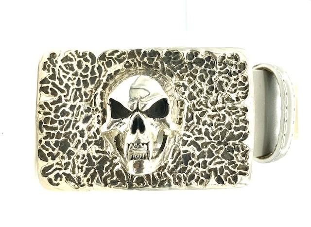 Sterling Silver Skull Belt Buckle On A Gray Calf 40mm Belt