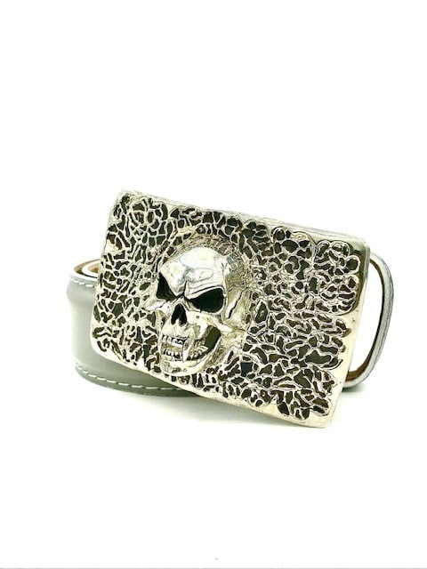L E N LIFESTYLE 40MM CALF BELT WITH STERLING SILVER SKULL BUCKLE