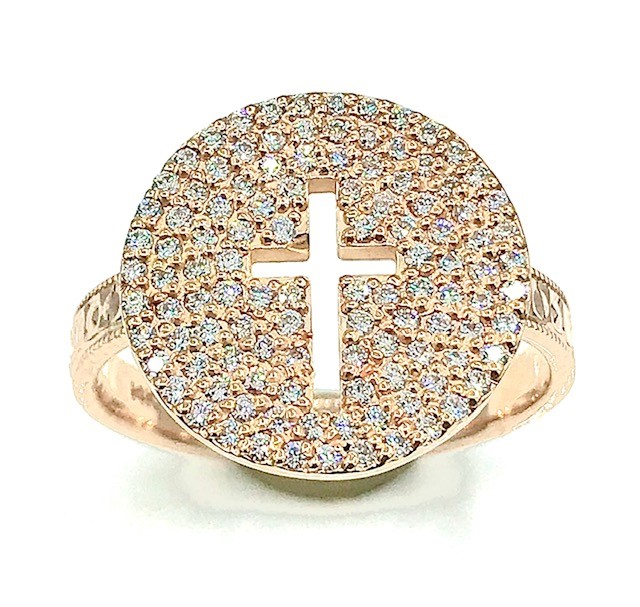 PAVE DIAMOND CROSS RING IN 14K ROSE GOLD