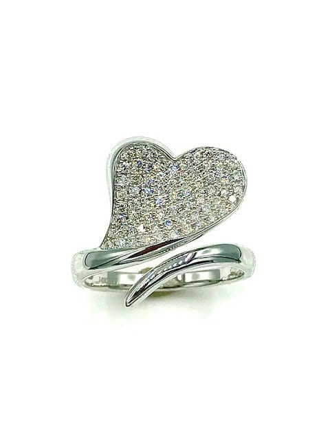 14K WHITE GOLD HEART SHAPED RING SET WITH PAVE DIAMONDS