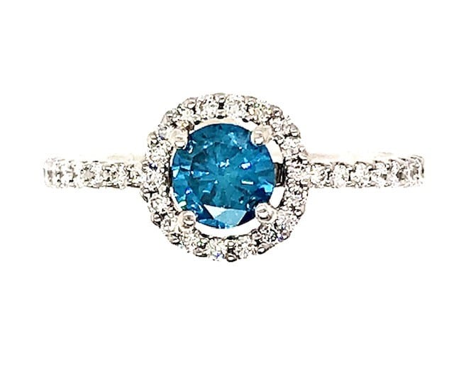 BLUE DIAMOND 18K WHITE GOLD RING WITH WHITE DIAMOND HALO