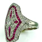 RUBY AND DIAMOND PLATINUM ART DECO STYLE RING