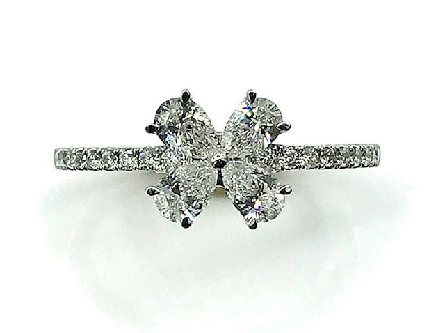 DIAMOND AND 14K WHITE GOLD FLORAL DESIGN RING