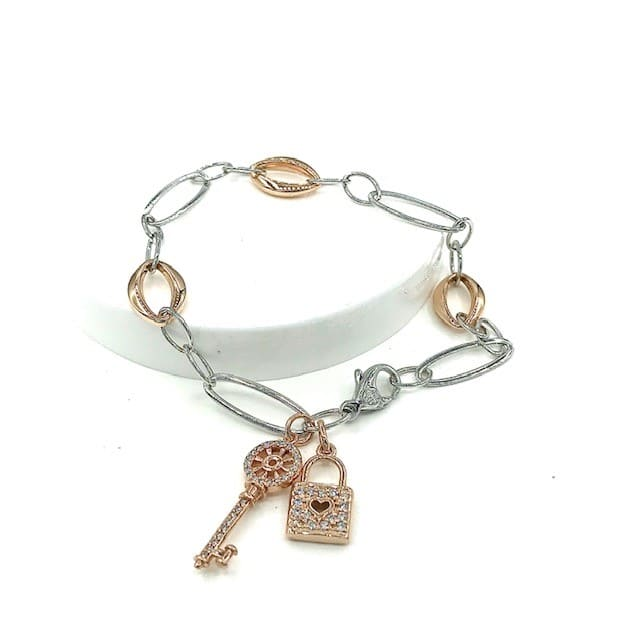 DIAMOND AND ROSE AND WHITE 14K GOLD BRACELET