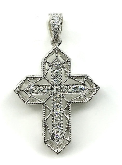 DIAMOND AND 14K FILIGREE WHITE GOLD CROSS