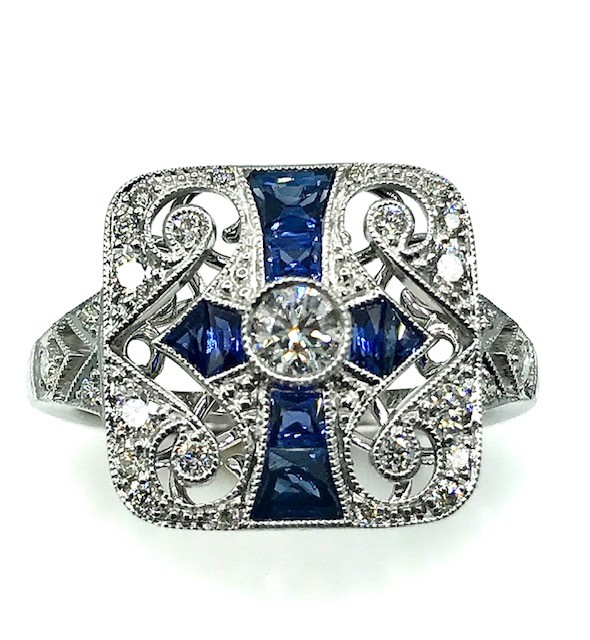 SAPPHIRE AND DIAMOND 18K WHITE GOLD ART NOUVEAU STYLE RING